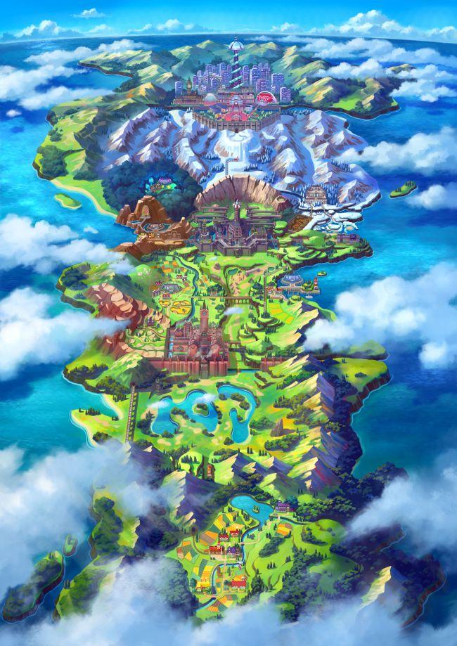mappa Galar pokemon spada e scudo