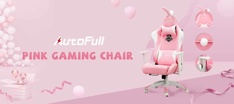 Sedia da gaming rosa Autofull stile coniglietto