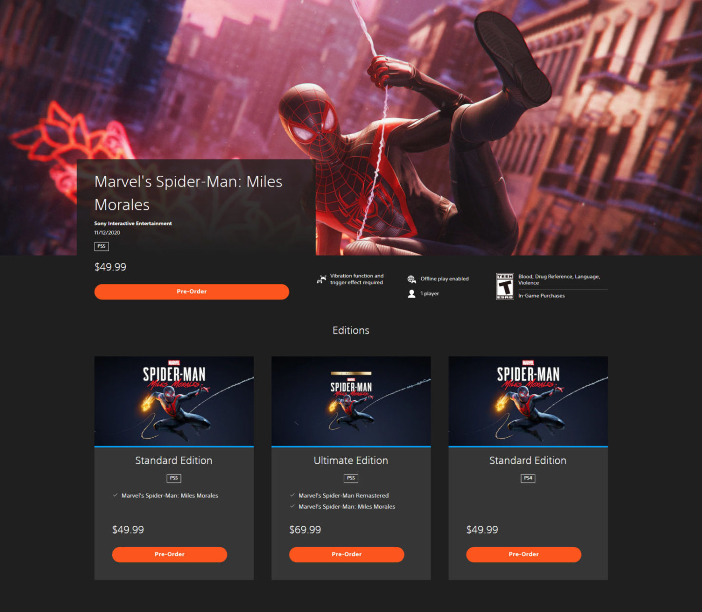 spiderman ps store