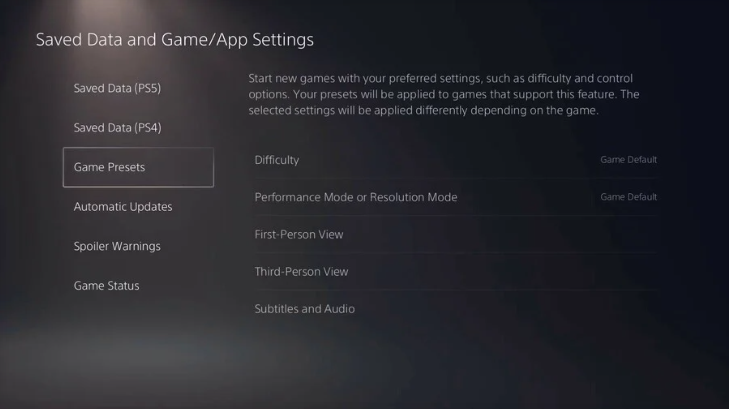 Per titoli supportati ci saranno preimpostazion di gioco nelle impostazioni di PS5